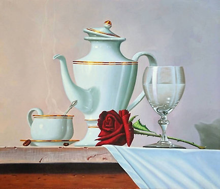 Утренний натюрморт с розой