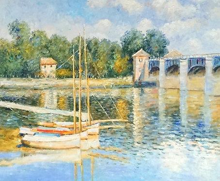 Лодки у моста. копия Моне