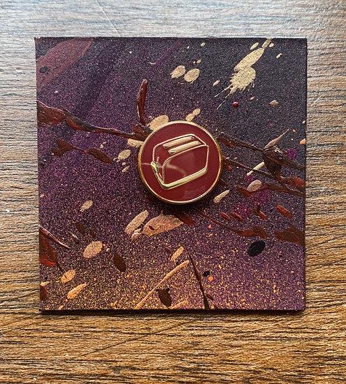 Maroon and Gold Enamel Pin Badge