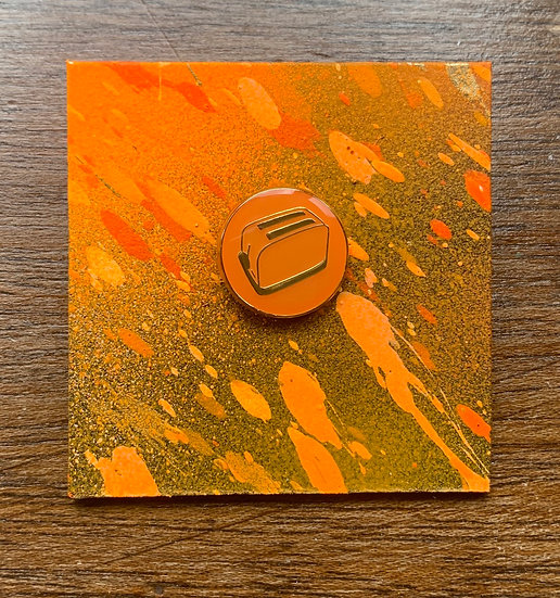 Bright Orange and Gold Enamel Pin Badge
