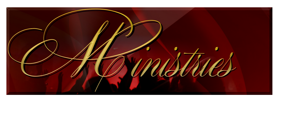Ministries banner with lifted hands silhouette