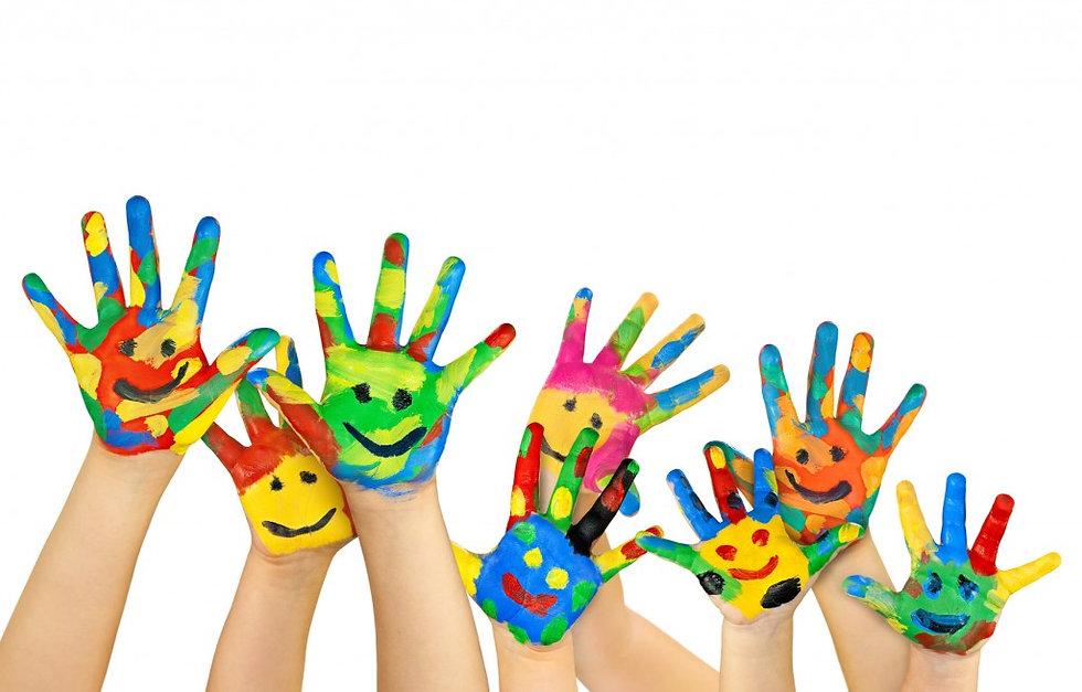 children's fun-painted hands