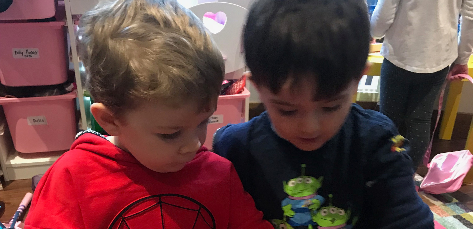 Having fun in the playroom