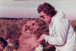 Franci with family dog Sonny 1976