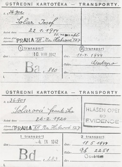 The transport cards record where Franci and her husband were sent after Terezin