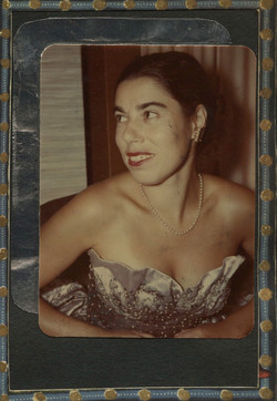 Franci modeling her own evening gown in the early 1950s