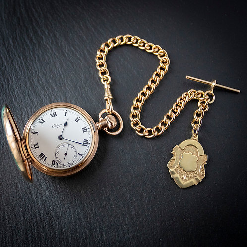 Stunning Waltham 19J Gold Filled Full Hunter Pocket Watch with Chain