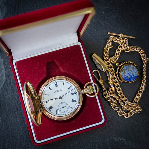 Victorian Waltham Model 1888 Half Hunter Pocket Watch + Chain