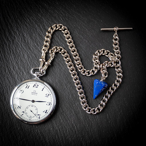 Stainless Steel Omega Pocket Watch 1977 with Stainless Steel Chain