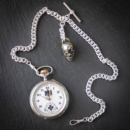German WW2 Glashutte Open Face 800 Silver Military Pocket Watch + Chain