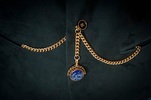 PVD Gold Double Albert Chain with Lapis Lazuli Spinner Fob