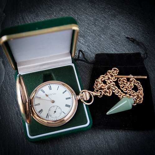 Stunning Victorian Waltham Model 1888 Full Hunter Pocket Watch with Chain & Box