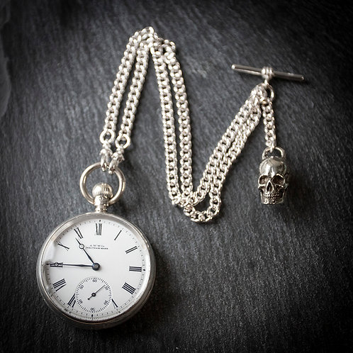 Memento Mori Victorian Waltham Model 1888 Sterling Silver Open Face Pocket Watch