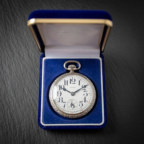 White Gold Filled Waltham 21 Jewel 16s Open Face Pocket Watch