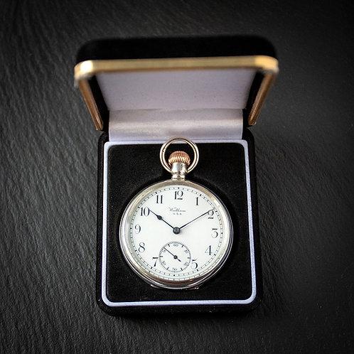 Sterling Silver Waltham 17 Jewel 16s Open Face Pocket Watch