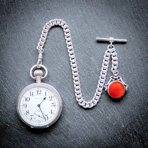 Waltham 21j Sterling Silver Pocket Watch + 925 Silver Chain and Antique Spinner