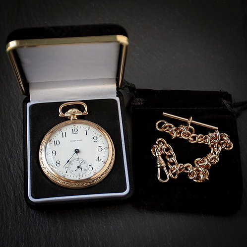 Waltham 17 Jewel 16s Open Face Pocket Watch with RG Albert Chain