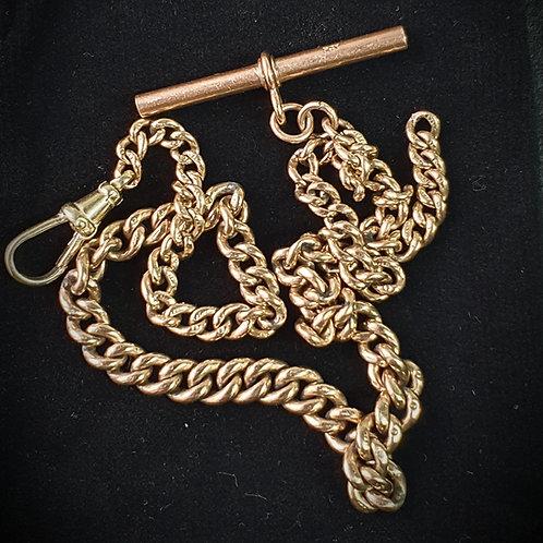 Solid 9ct Gold Single Graduated Albert Chain