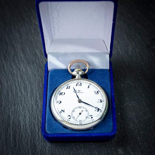 Steel Omega 15 jewel Pocket Watch