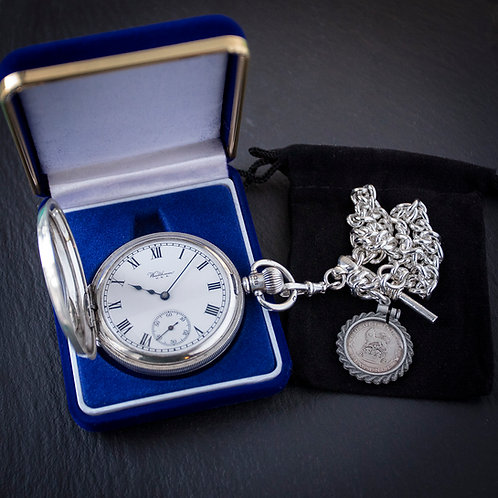 Waltham 15 Jewel Sterling Silver Half Hunter Pocket Watch + Chan
