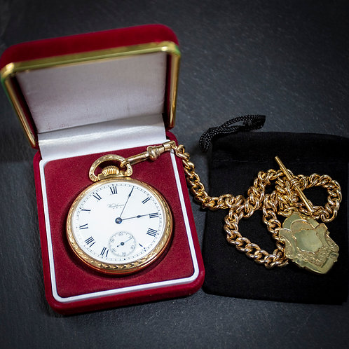 Waltham 21 Jewel 16s Rolled Gold Open Face Pocket Watch with Chain