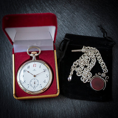 Stunning Omega Open Faced Pocket Watch + Solid 925 Chain