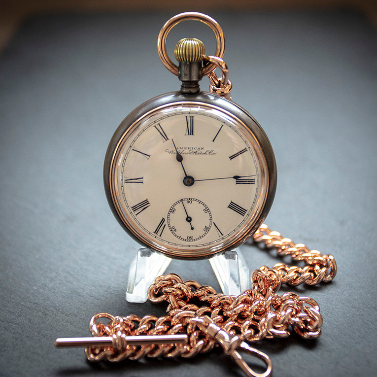 Waltham Antique Victorian 1888 Gun Metal Pocket Watch + Rose Gold Plated  Chain | Time Pocket Watches