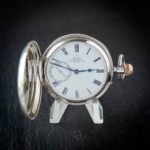 Victorian Dent London Full Hunter Sterling Silver Pocket Watch