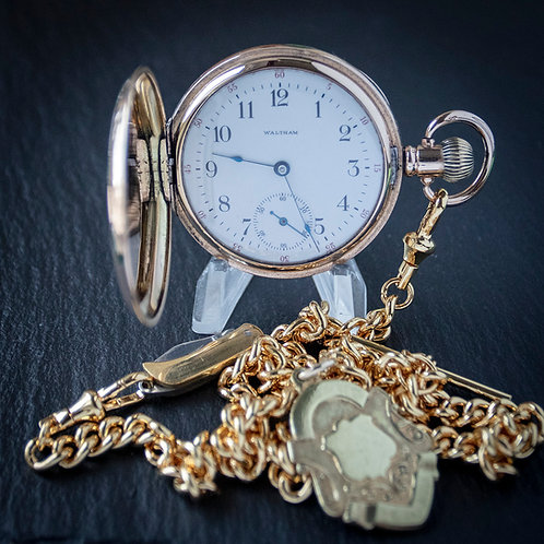 Waltham 17J 14ct Gold Filled Full Hunter Pocket Watch + Double Chain + Case