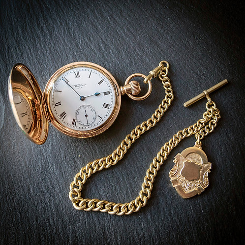 Waltham 17 Jewel Full Hunter Pocket Watch + Chain + Case 1917