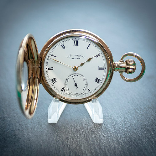 Bravingtons Renown Swiss 23 Jewel 10ct Gold Filled Half Hunter Pocket Watch
