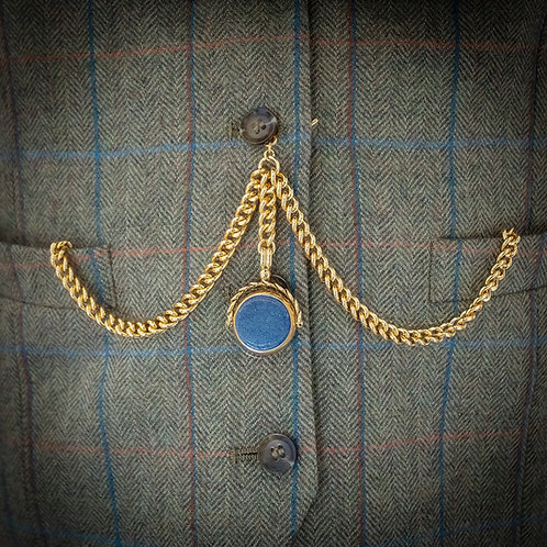 Double Rolled Gold Albert Chain with Blue Stone Spinner Fob