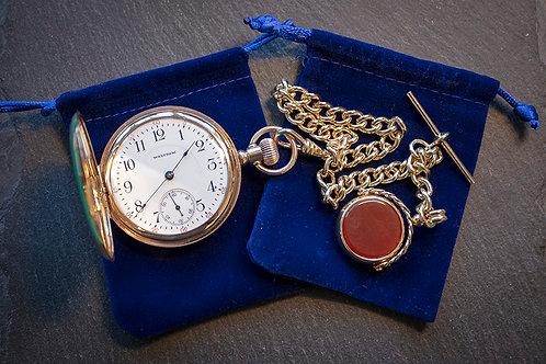 Waltham 17 Jewel Gold Filled Full Hunter Pocket Watch + Matching Chain + Box