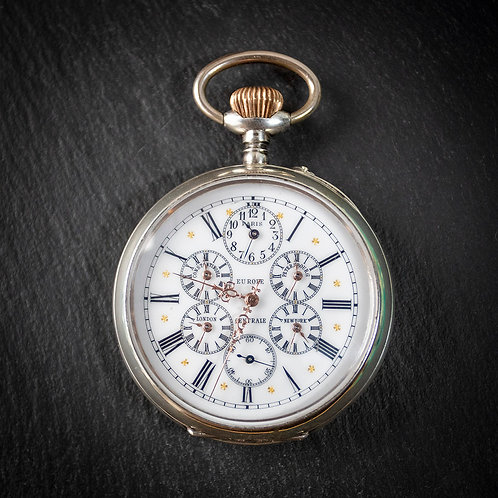 Large Swiss World Time Solid Silver Pocket Watch