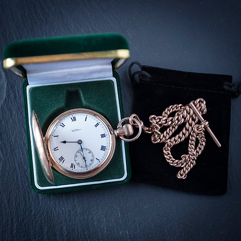 Solid 9ct Gold Waltham 17 Jewel Full Hunter Pocket Watch and 9ct Albert Chain
