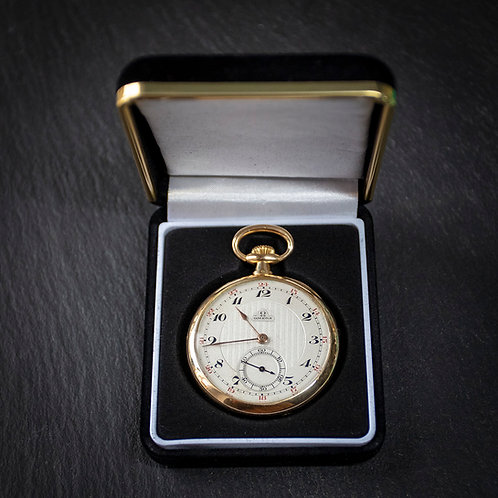 18k Solid Gold Omega 15 jewel Pocket Watch