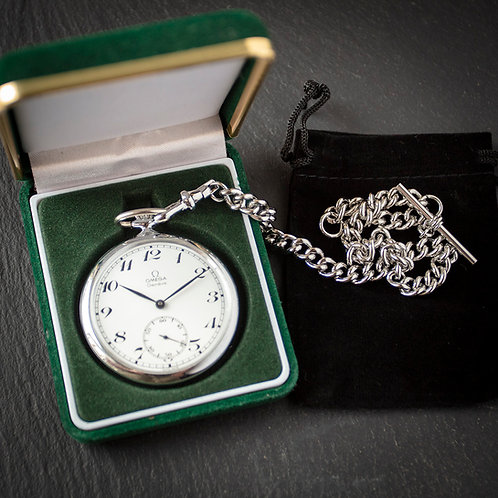 1973 Omega 17 jewel Cal 960 Pocket Watch + Steel Albert