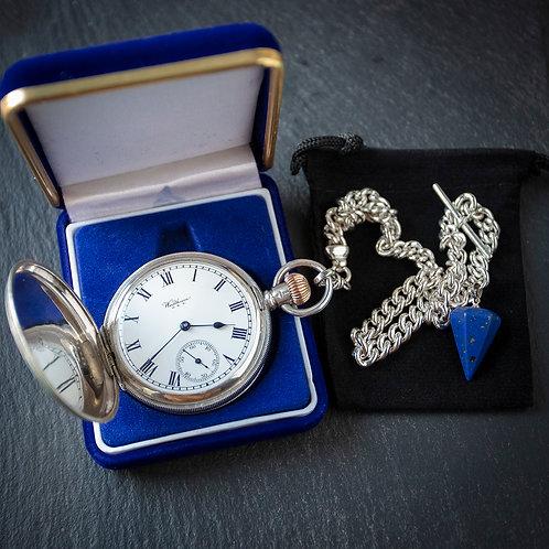 Waltham 15 Jewel Sterling Silver Full Hunter Pocket Watch + Albert Chain
