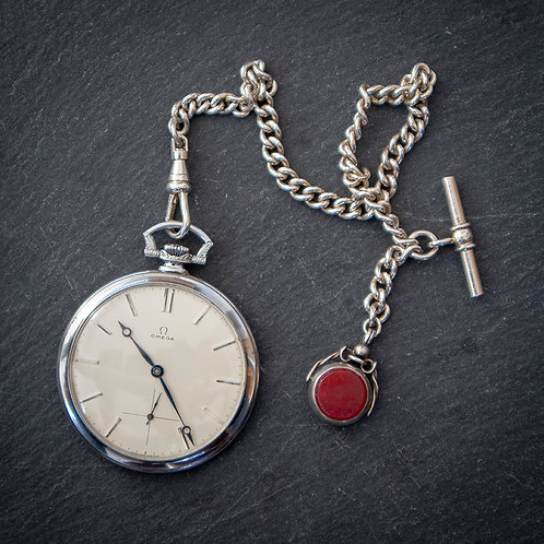 Outstanding 15 Jewel Omega Pocket Watch with Silver Chain.