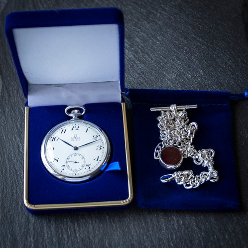 50th Birthday Omega Pocket Watch 1970 with Sterling Silver Chain