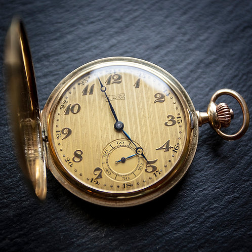 14k Solid Gold Full Hunter Pocket Watch by LOUIS ULYSSE CHOPARD
