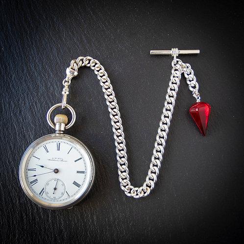 Victorian Waltham 1888 Sterling Silver Open Face Pocket Watch