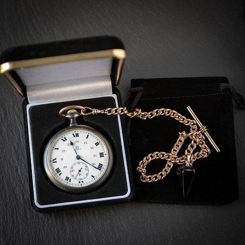 Omega Gun Metal Pocket Watch with Chain+ Box