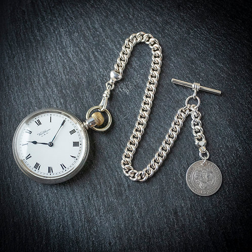 Antique Victorian Waltham1888 Sterling Silver Open Face Pocket Watch + Chain