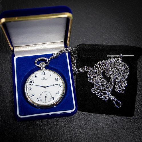 Steel Omega 15 jewel Pocket Watch with Case and Chain