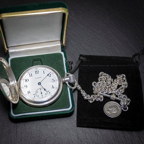 Waltham 15 Jewel Sterling Silver Full Hunter Pocket Watch