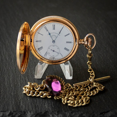 Magnificent 14k Gold Filled Full Hunter Pocket Watch + Albert Chain + Box