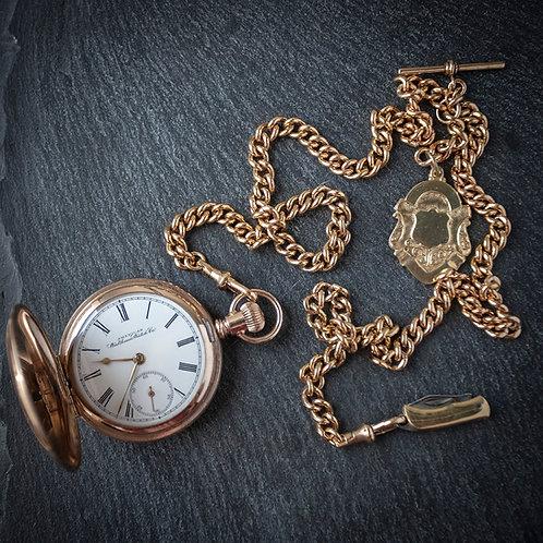 Victorian Waltham 14k Gold Filled Model 1888 Full Hunter Pocket Watch