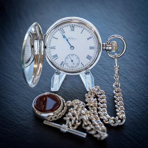 Waltham Sterling Silver 17J Full Hunter Men's Pocket Watch + Chain + Spinner