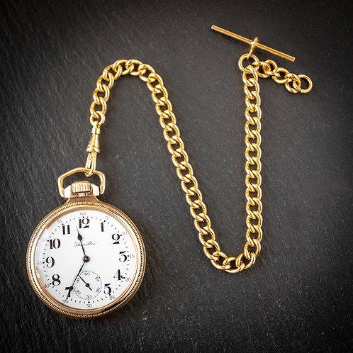 Hamilton 17 Jewel 16s Open Face Pocket Watch with RG Albert Chain